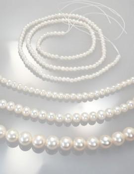 Ref. 862 Perles d'eau douce presque rondes, chocker 40 cm