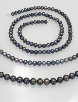 Ref. 868 Perles d'eau douce presque rondes chocker, gris foncé irisée