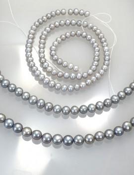 Ref. 872 Perles d'eau douce presque rondes chocker gris clair