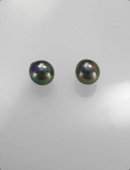 Ref. 890/paire Perles de Tahiti semi ronde